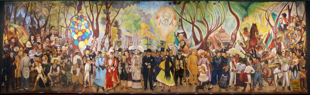 sueño de una tarde dominical en la alameda Central 1947 Diego Rivera 1024x315 La Garbancera (La Catrina) de José Guadalupe Posada y sus ilustraciones; Un Legado Mexicano como Herencia al Mundo Entero.